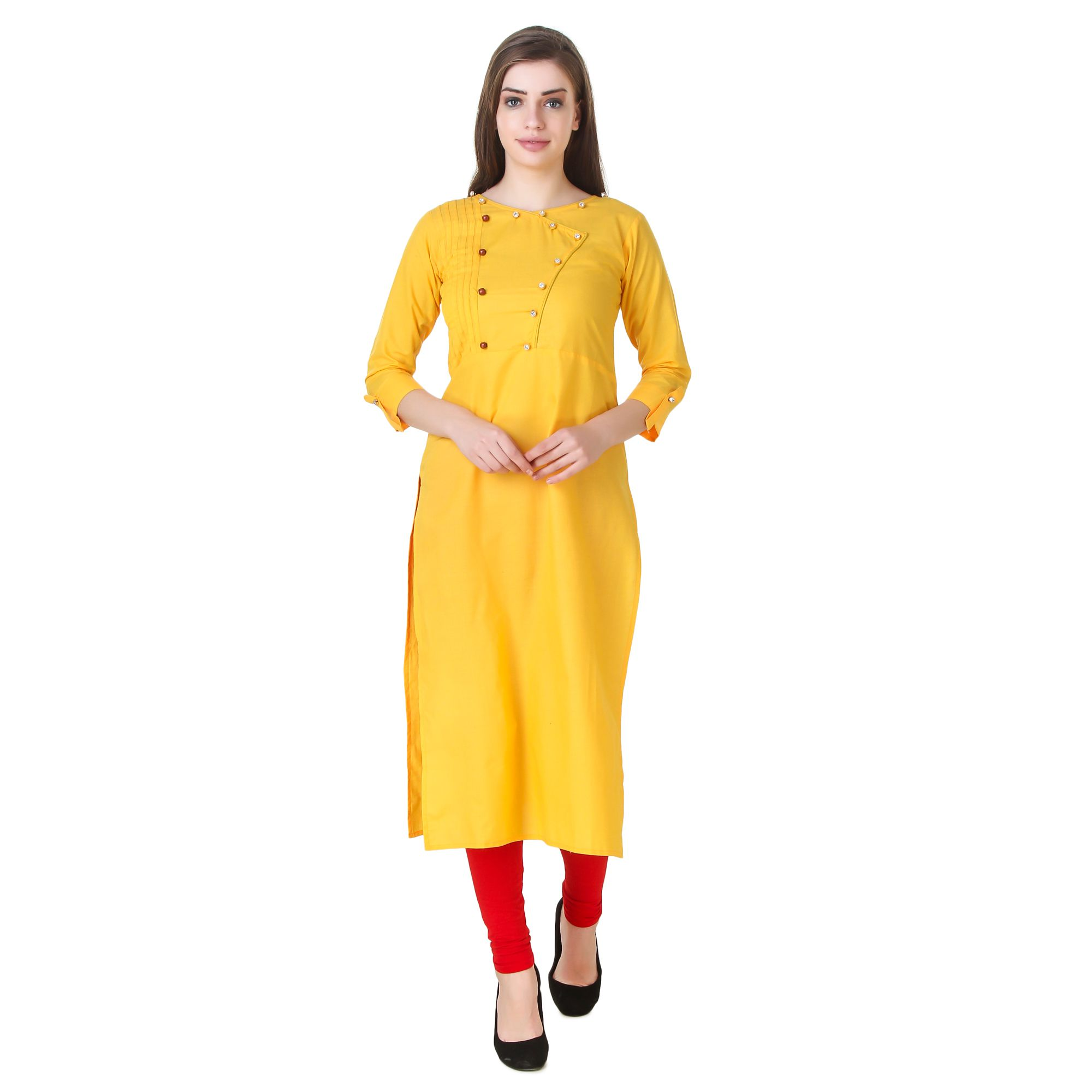 Satva-The Brand Yellow Cotton A-line Kurti
