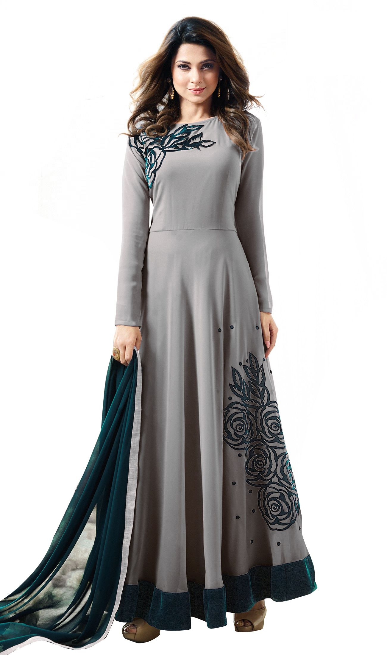 1cc0d766a2 admiria Grey and Black Georgette Anarkali Gown Semi-Stitched Suit - Buy  admiria Grey and Black Georgette Anarkali Gown Semi-Stitched Suit Online at  Best ...