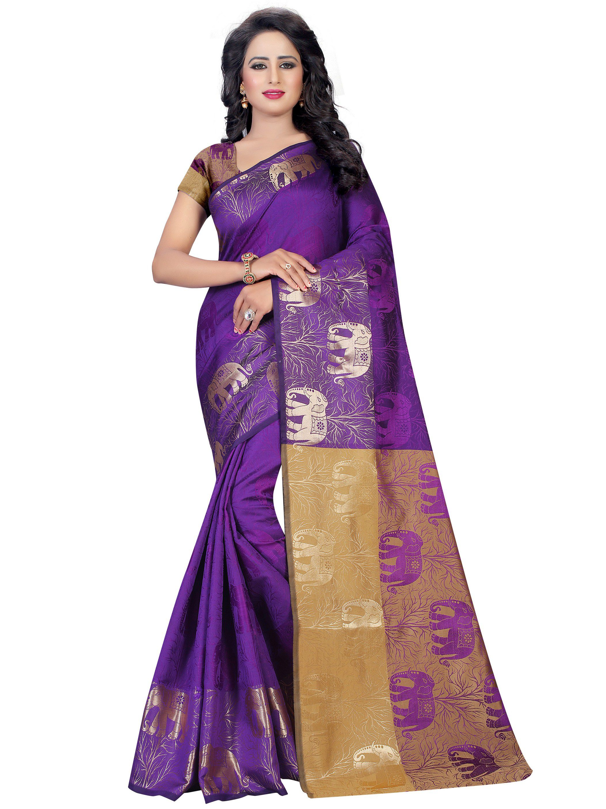 Vastrang Purple Cotton Silk Saree