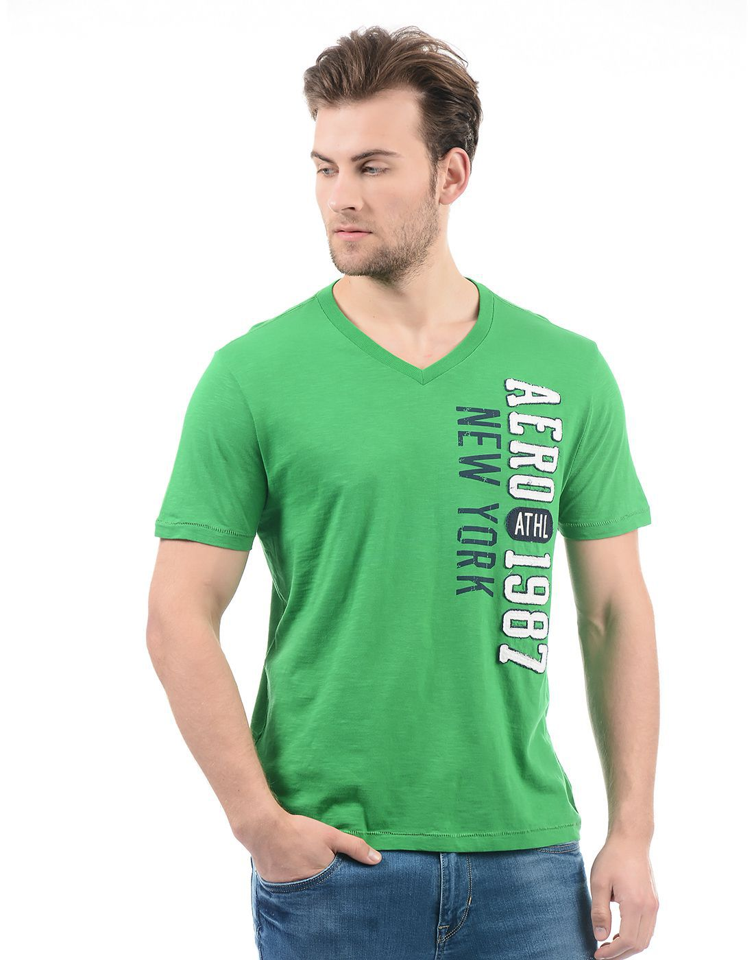 Aeropostale Green V-Neck T-Shirt