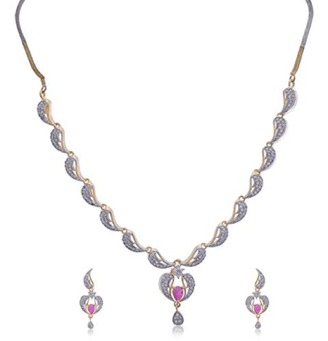 Jyesh Jewel Gold Plated American Diamond Choker Necklace With Drop Earrings Jewellery for Women & Girls