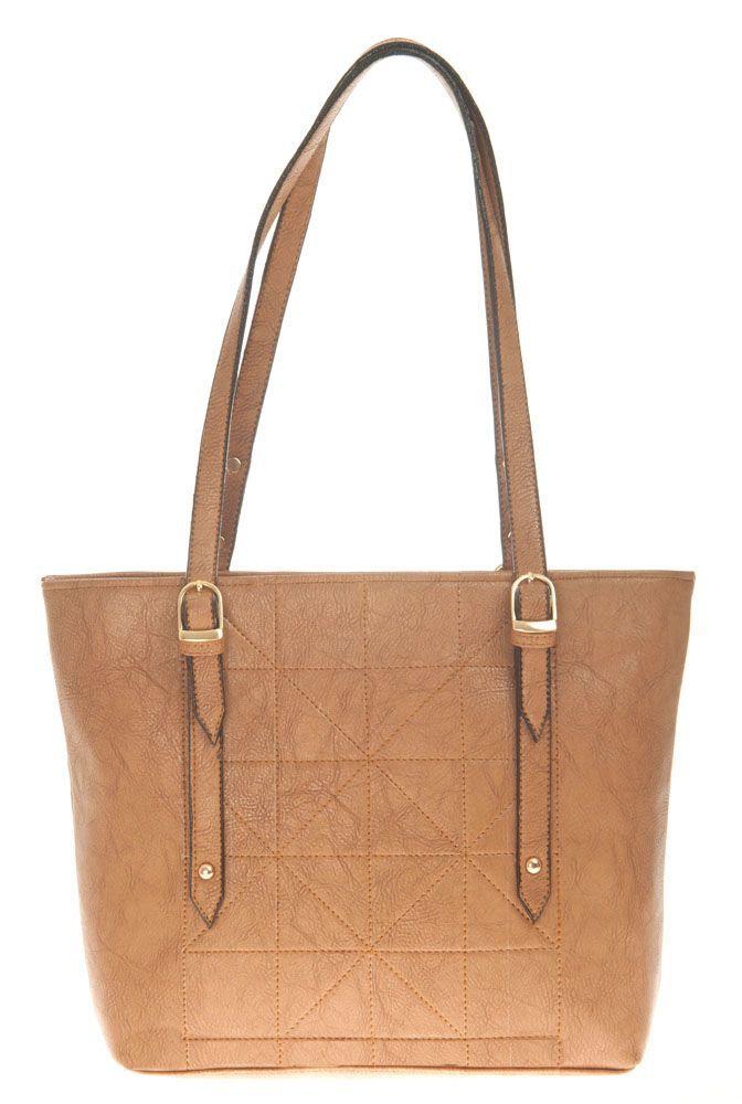 Aliado Beige Faux Leather Shoulder Bag