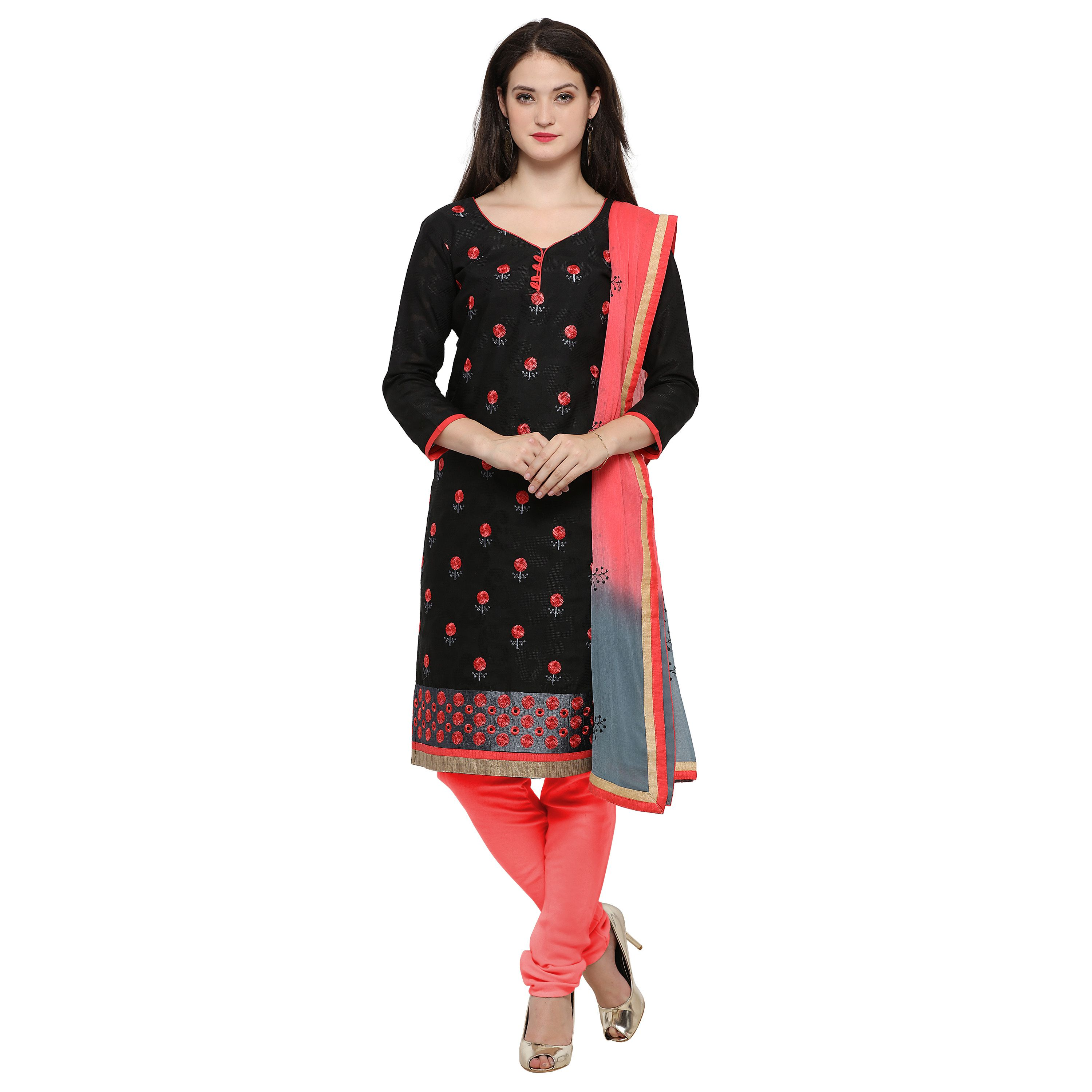 Rajnandini Black Cotton Dress Material