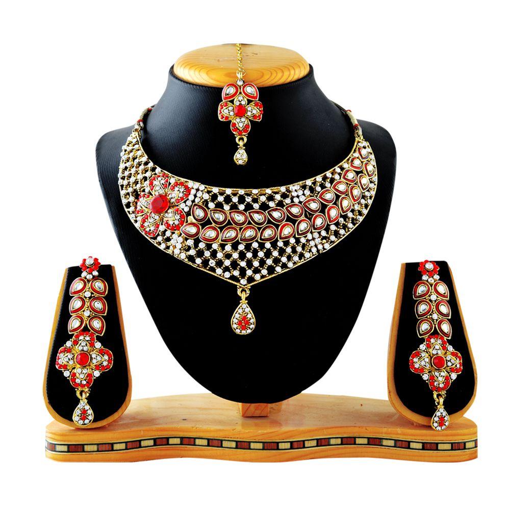 RG Fashions Jewellery Zinc Gold Plating kundan/Meenakari Studded Gold Coloured Necklaces Set