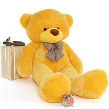 ToyHub 4 Feet Stuffed Spongy Huggable Cute Teddy Bear (Yellow Color) - 122 cm