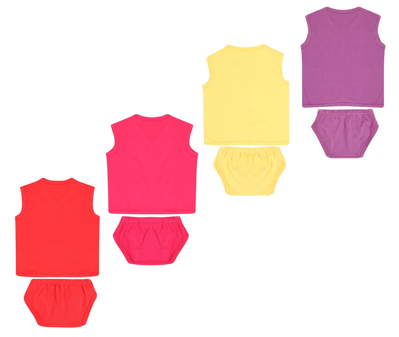 Dongli Unisex Soft Cotton Baby Set Dress (Pack of 4)