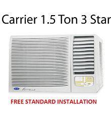 Carrier 1.5 Ton 3 Star Estrella 3S Window Air Conditioner White(2018 Model) Free Standard Installation