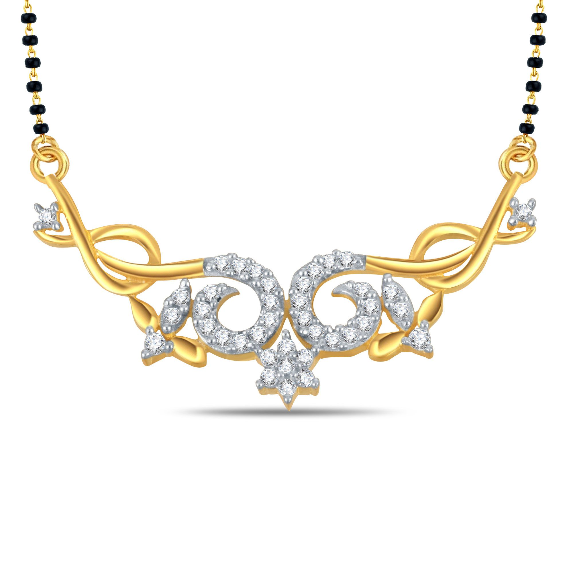 Silver Dew 92.5 Silver Cubic zirconia Mangalsutra