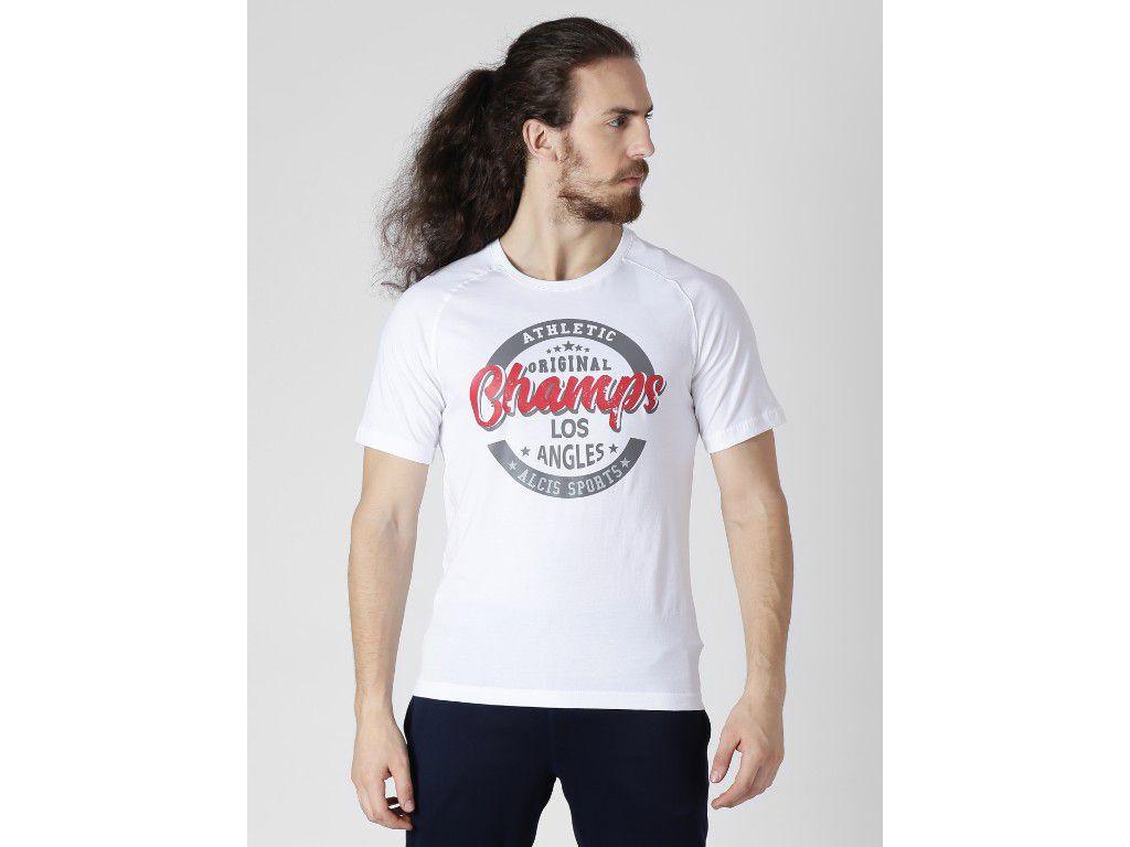 Alcis Mens Printed White T-Shirt