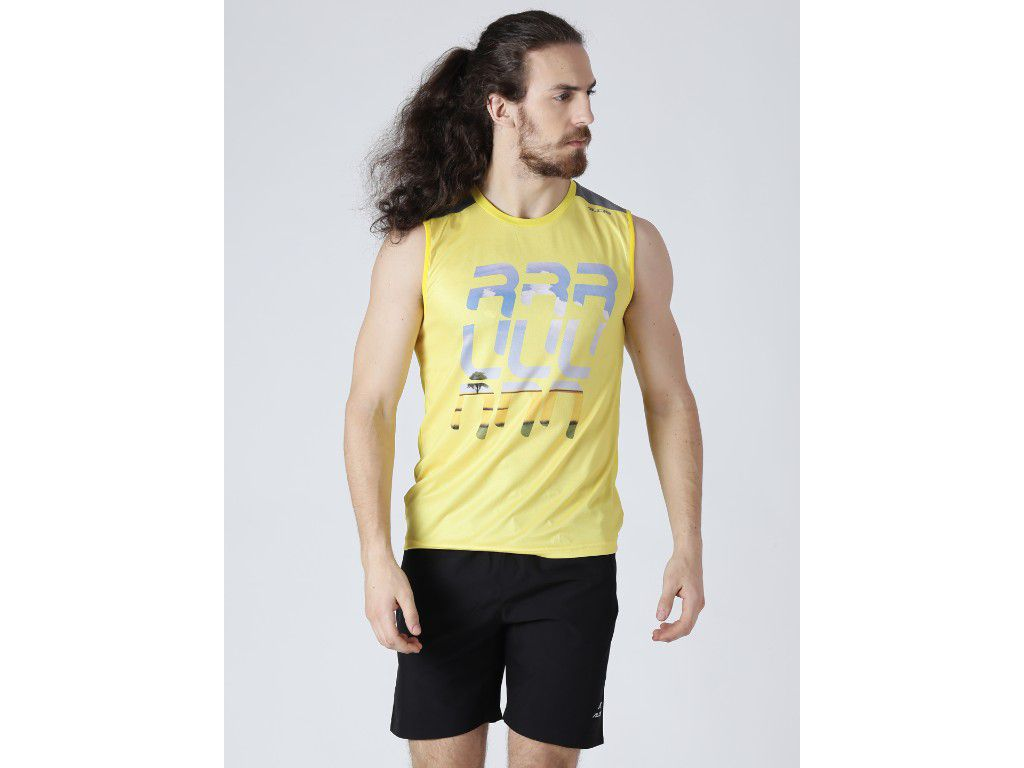 Alcis Mens Printed Yellow Singlet