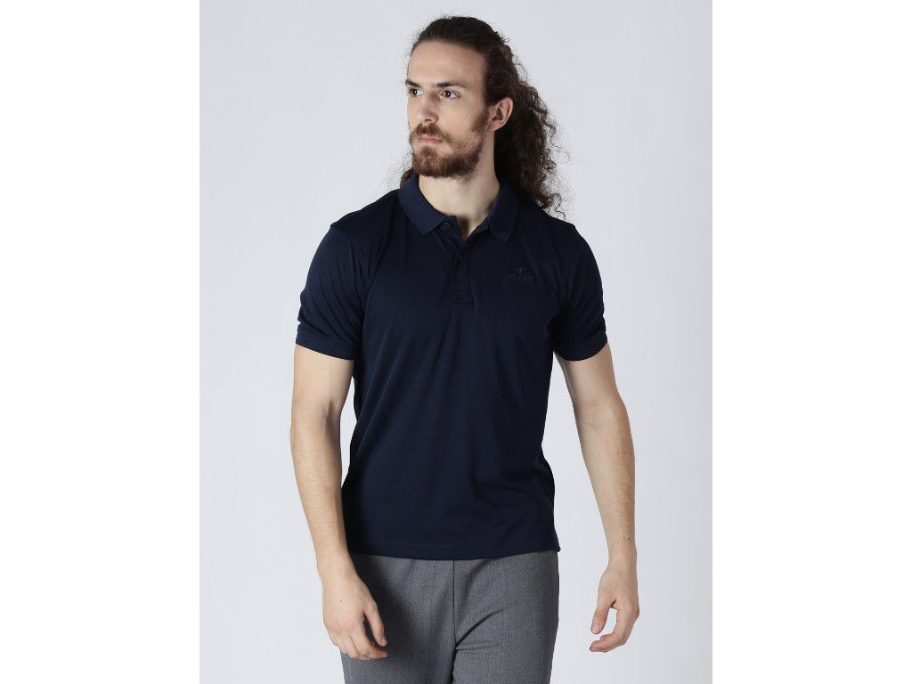 Alcis Mens Solid Navy Polo T-Shirt