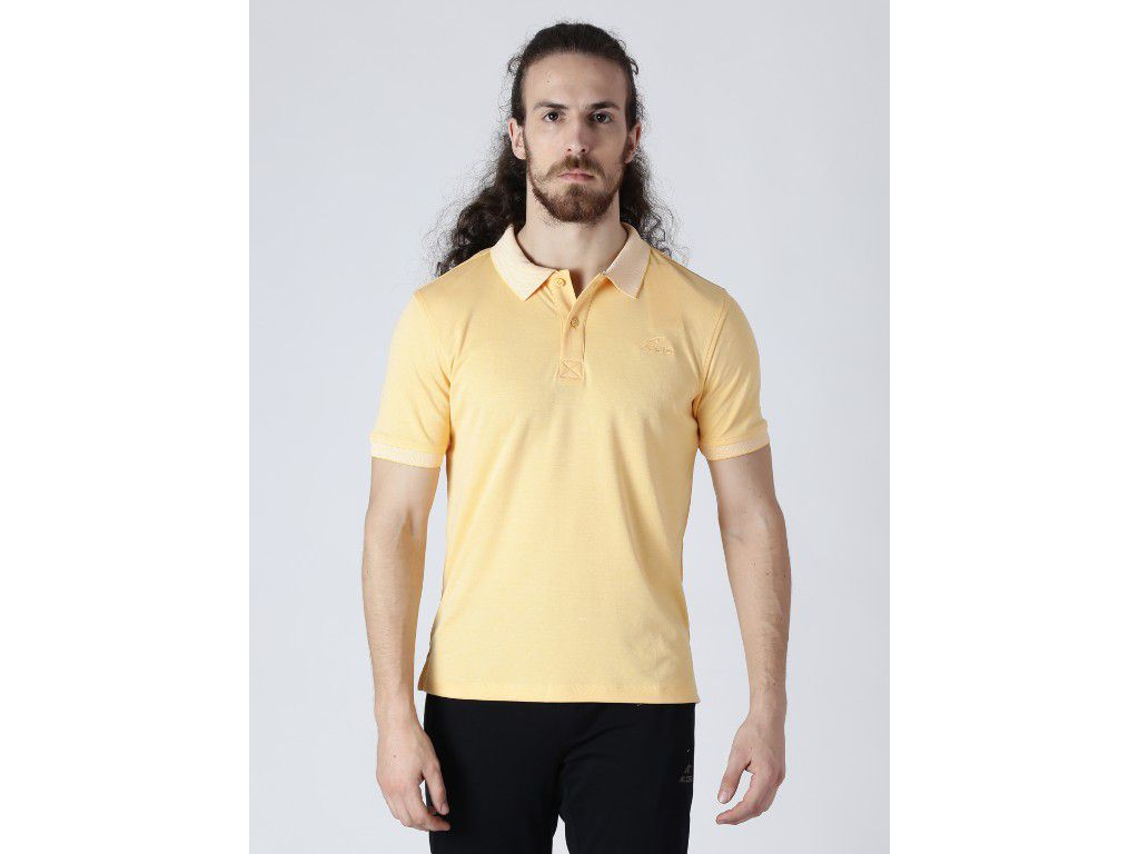 Alcis Mens Solid Yellow Polo T-Shirt