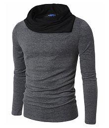 PAUSE Grey High Neck T-Shirt