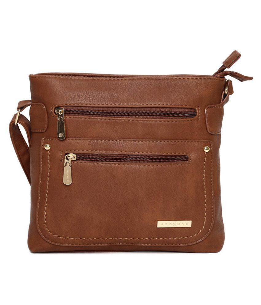 Addons Brown Faux Leather Sling Bag