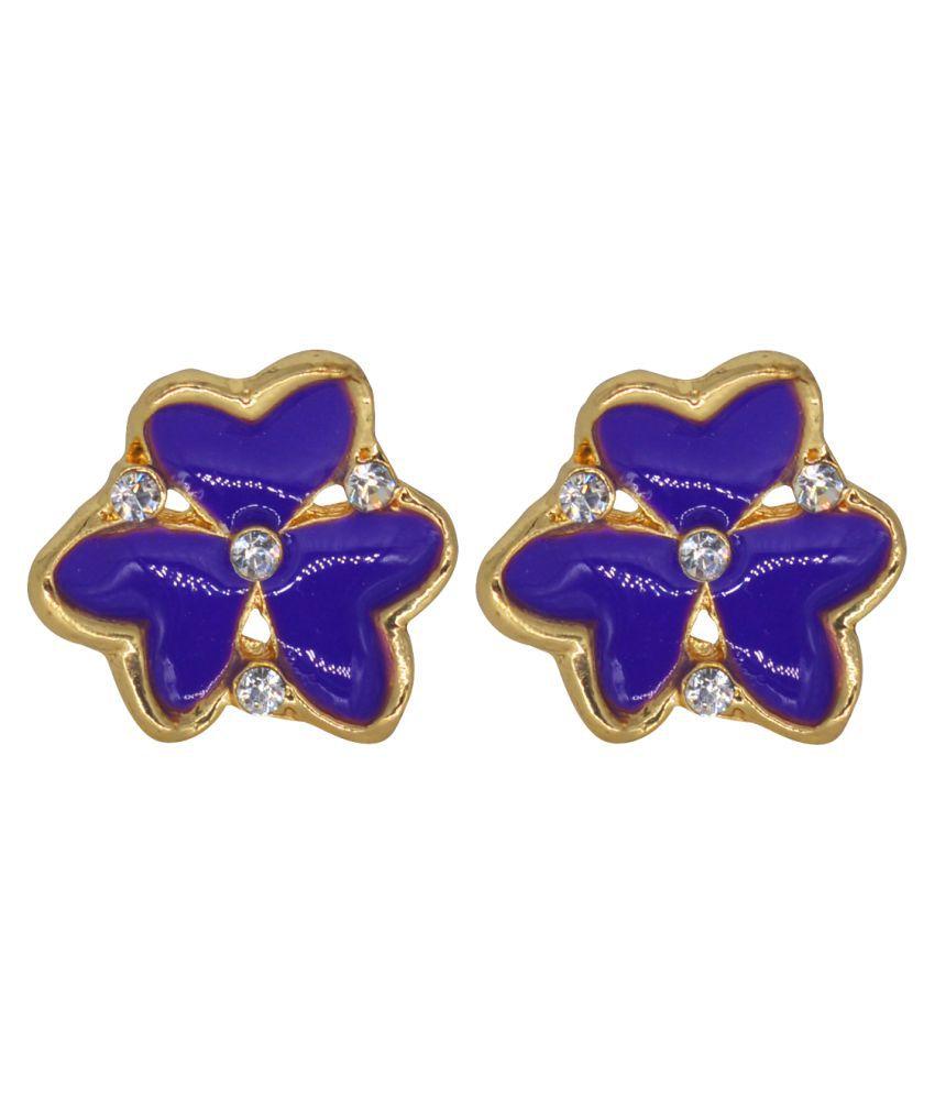 Glitters Purple Enamel Heart Designer Earrings for Women / Girls