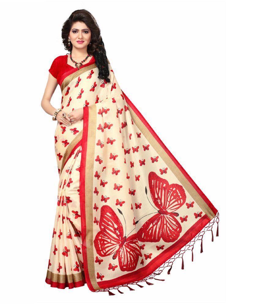 PRISKA Off White Bhagalpuri Silk Saree