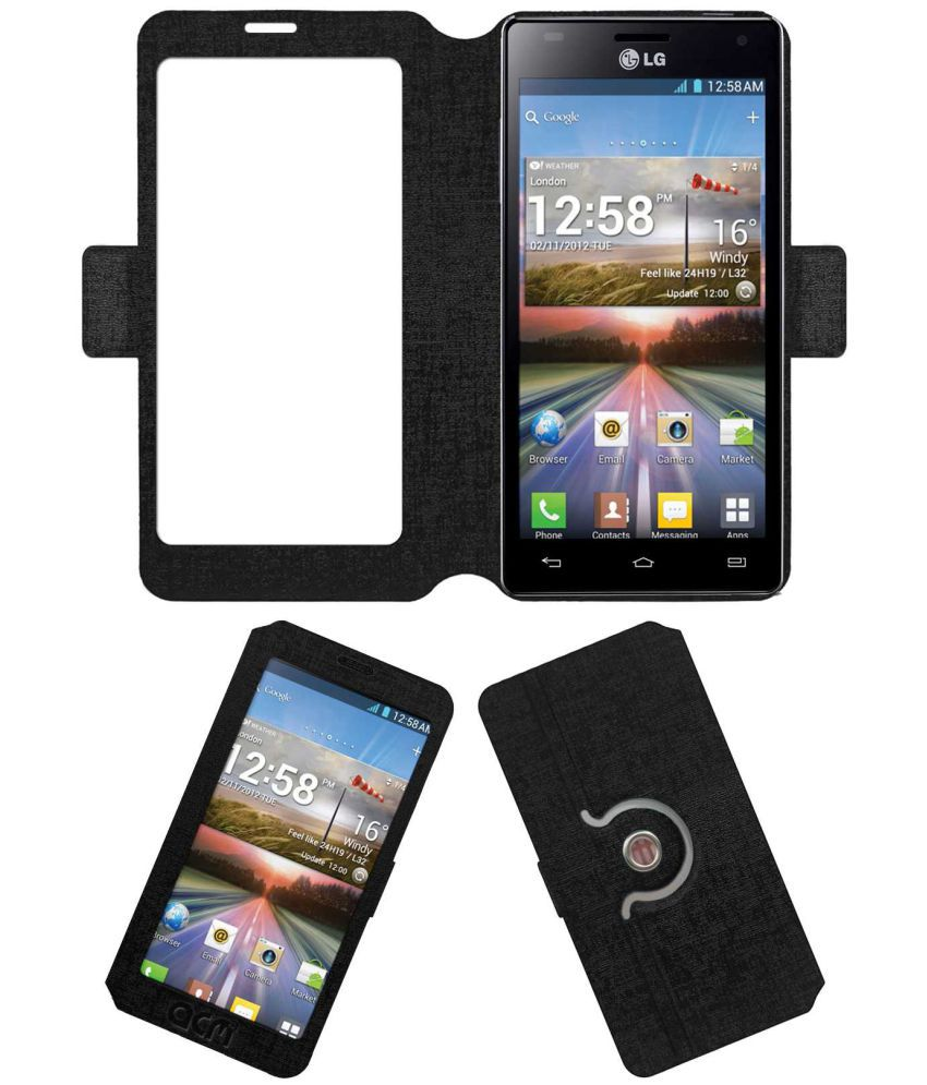 Lg Optimus P880 Flip Cover by ACM - Black