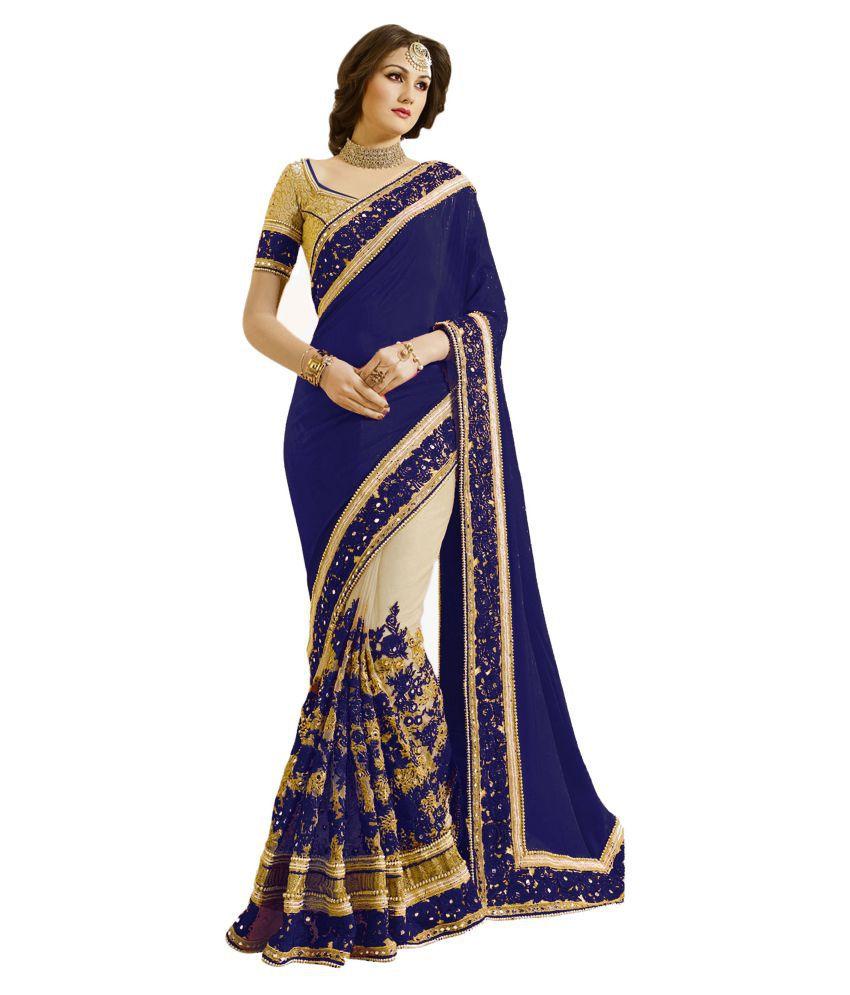 Nivah Fashion Blue Satin Saree