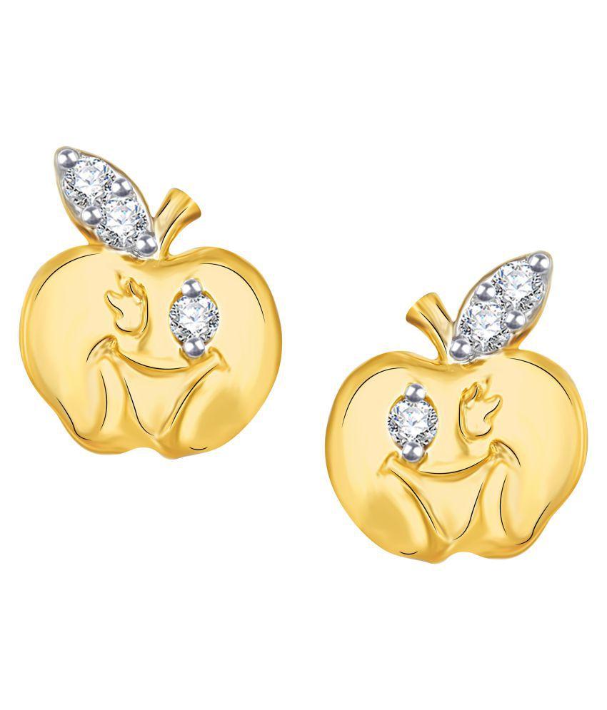 VK Jewels Smiley Apple Diamond Studded Gold Plated Alloy CZ American Diamond Earrings for Women & Girls [VKER1816G]