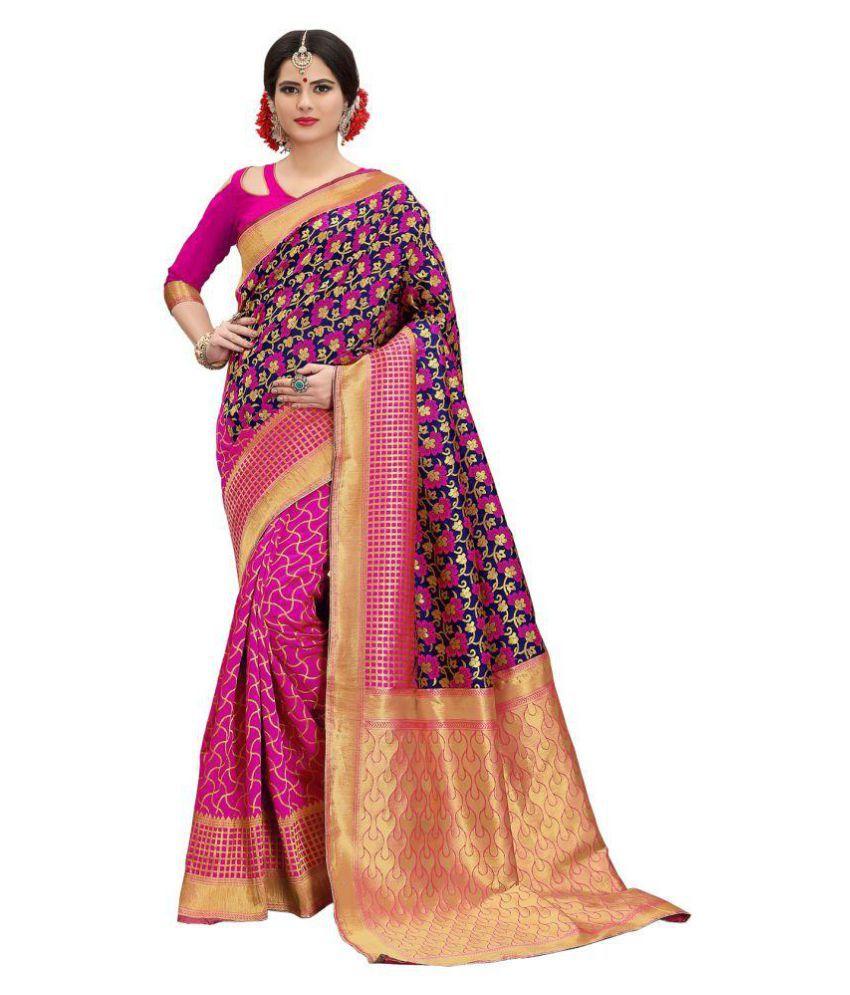 ethnic diwa Pink and Beige Banarasi Silk Saree