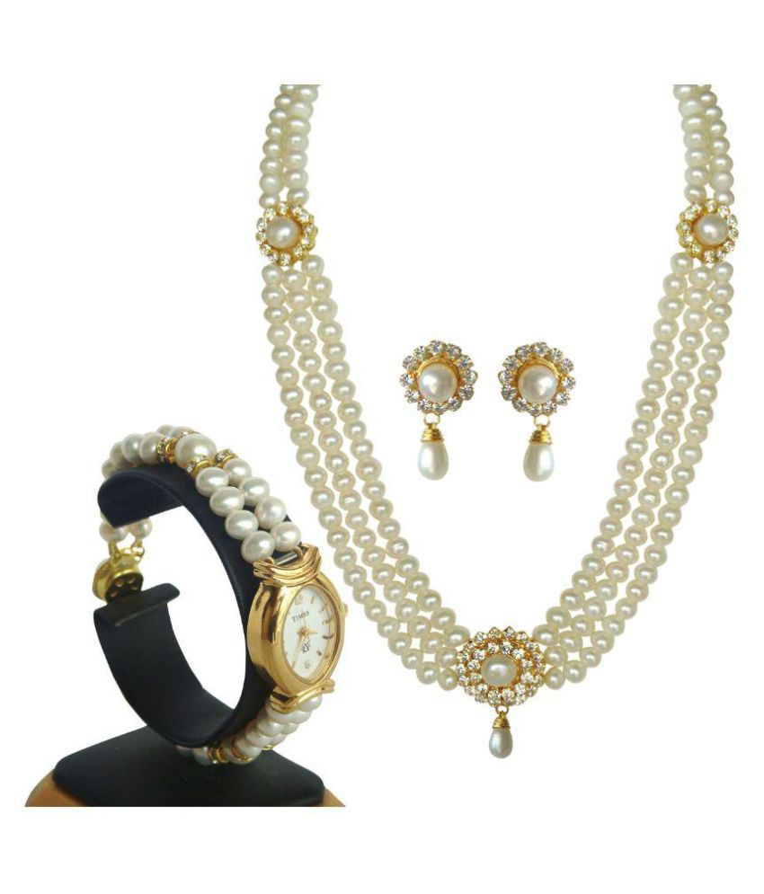 Classique Designer Jewellery White Pearls Necklace Set Combo