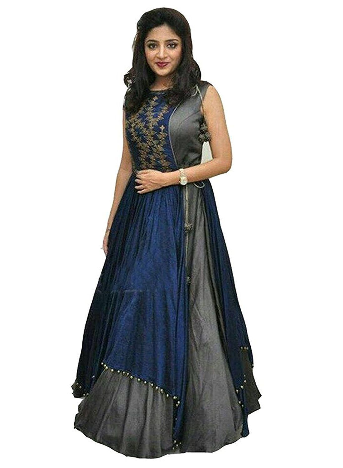 8aebe29d8 ... Anarkali Semi-Stitched Suit - Buy SERENEVA SALES Blue and Grey  Bangalore Silk Anarkali Semi-Stitched Suit Online at Best Prices in India  on Snapdeal