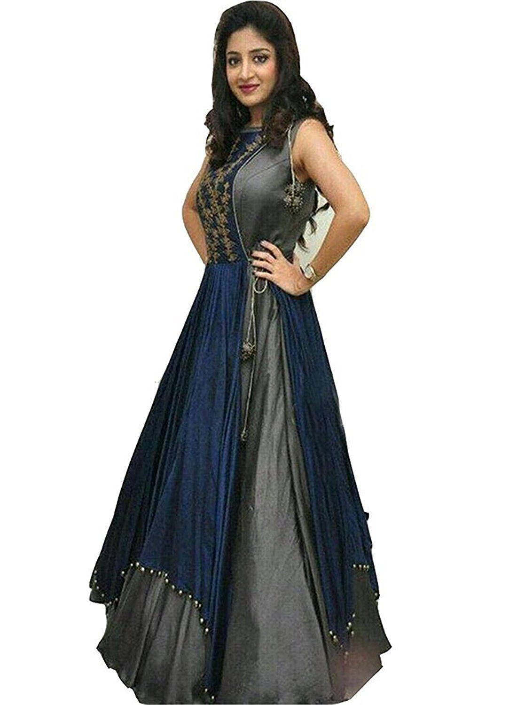 44651cd03 SERENEVA SALES Blue and Grey Bangalore Silk Anarkali Semi-Stitched Suit -  Buy SERENEVA SALES Blue and Grey Bangalore Silk Anarkali Semi-Stitched Suit  Online ...