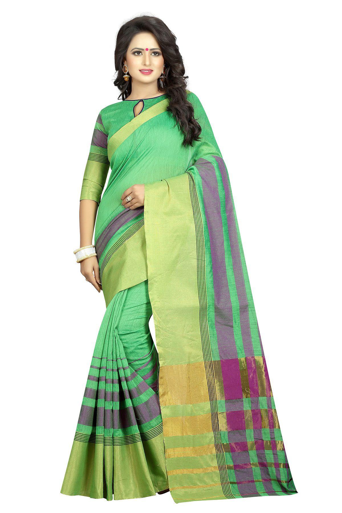 Wilori Green Cotton Silk Saree