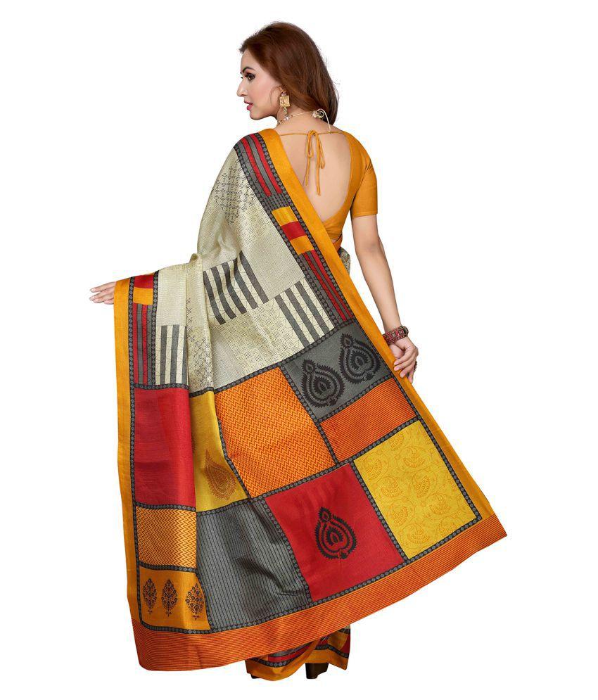 Maan Creation Yellow Banarasi Silk Saree
