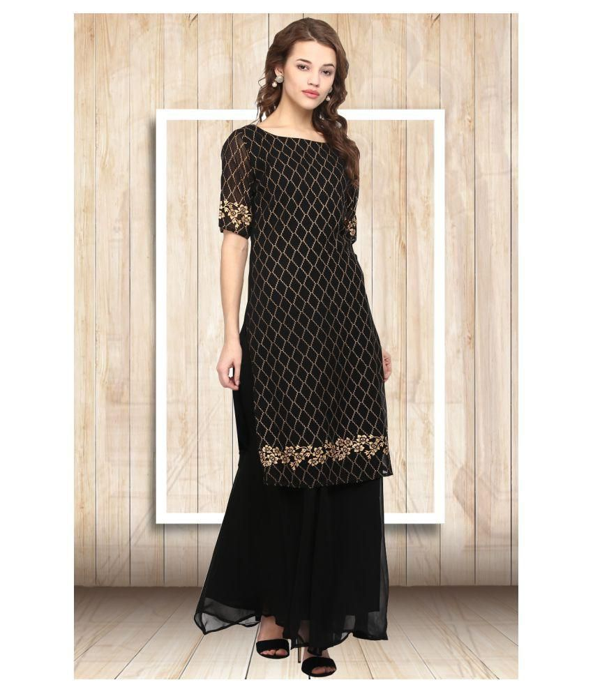 6d9ecd960 Ahalyaa Black Georgette Straight Kurti - Buy Ahalyaa Black Georgette  Straight Kurti Online at Best Prices in India on Snapdeal