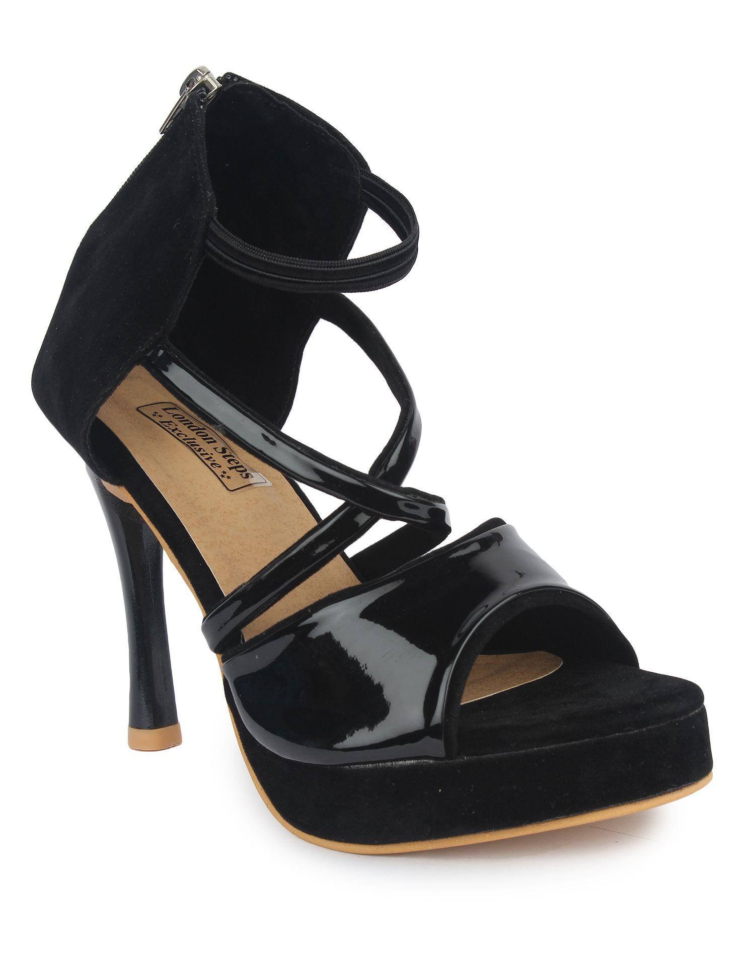 London Steps Black Stiletto Heels