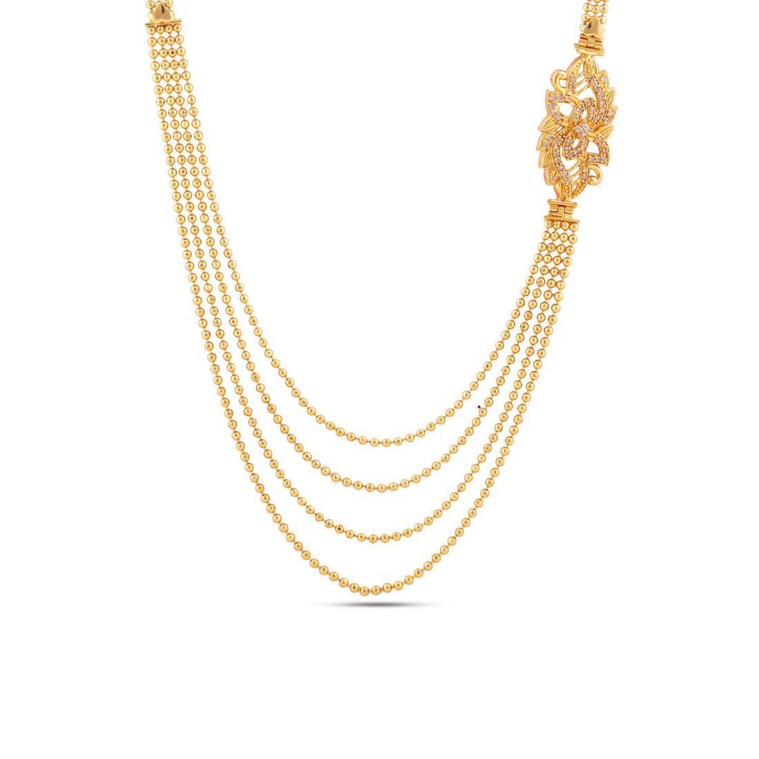 Maalyaa Brass Gold Plated Ad Long Necklace for Women & Girls