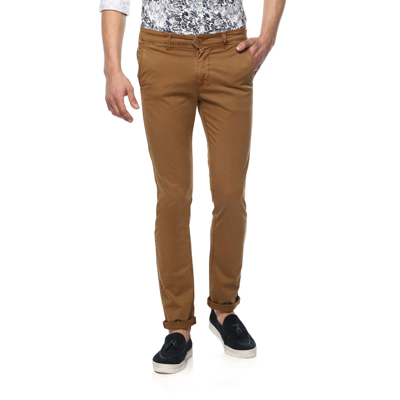 Spykar Beige Slim -Fit Flat Trousers