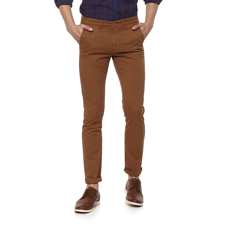 Spykar Brown Slim -Fit Flat Trousers