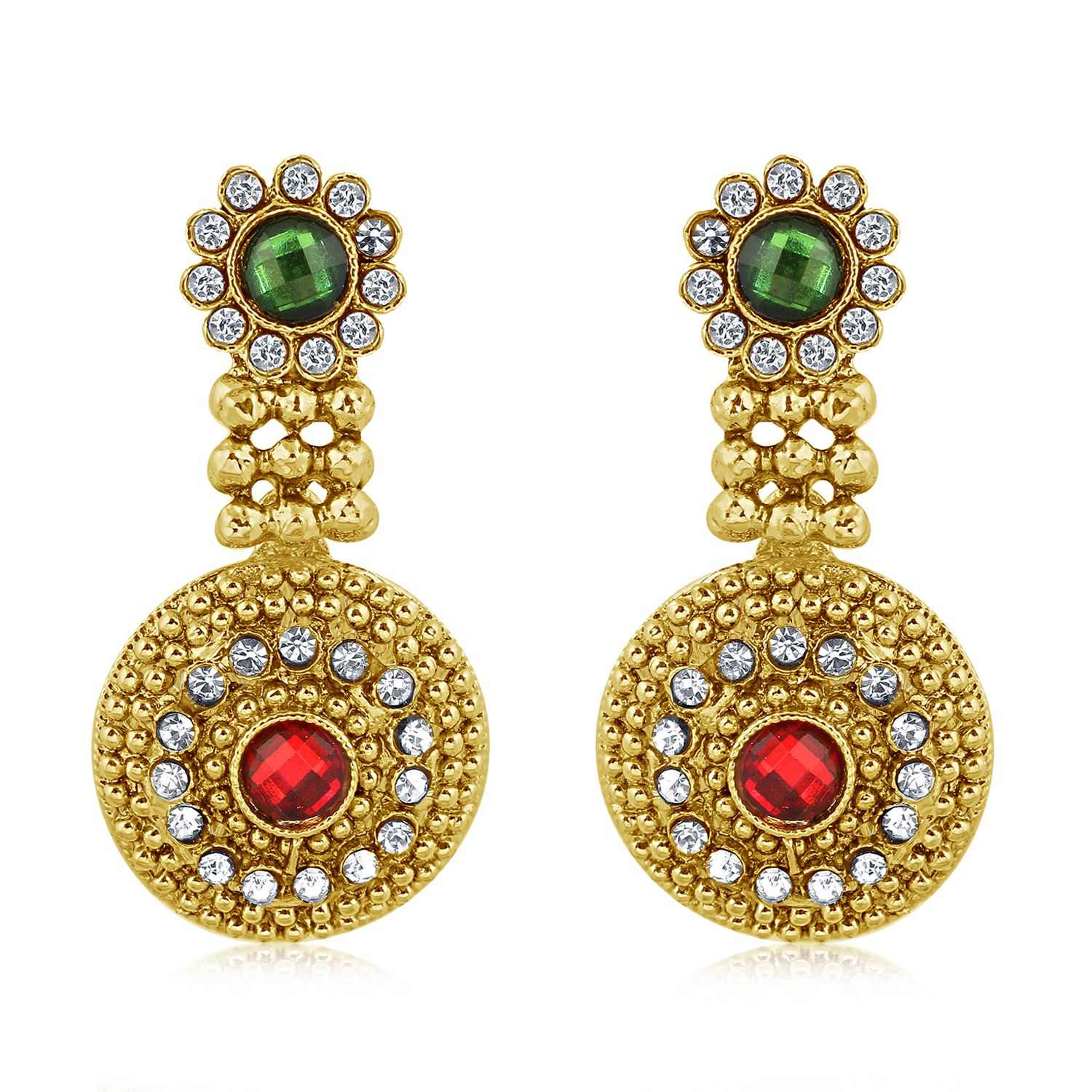 Vendee Fashion best selling multicolour stone and Gold plated Earring