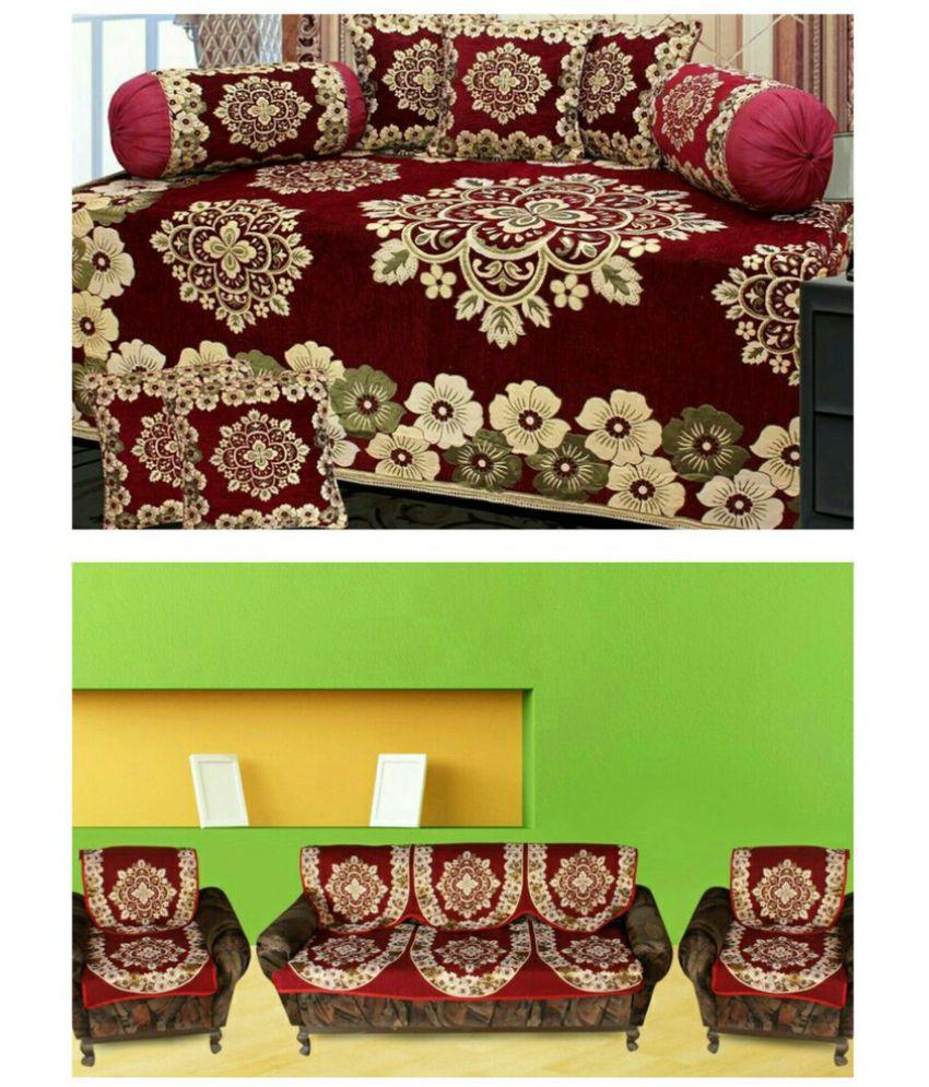 Laying Style Cotton Maroon Floral Diwan Set 8 Pcs