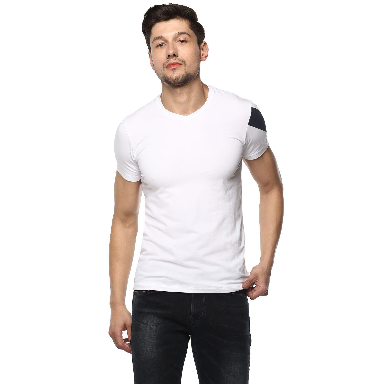 Spykar White V-Neck T-Shirt