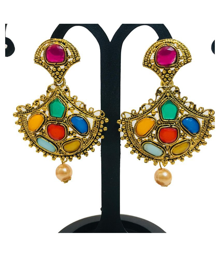 Evince MODE classy traditional golden pearl multi color stone studded kundan sparkling festive drop earrings for women and girls