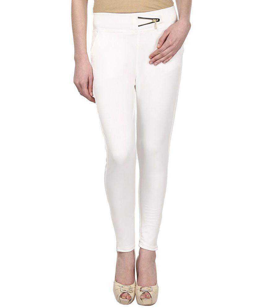 Makxziya Cotton Lycra Jeggings - White