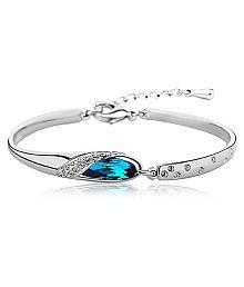 Castle Craft Blue Platinum Plated Austrian Crystal Cuff & Kadaa Bangle Bracelet for Women & Girls