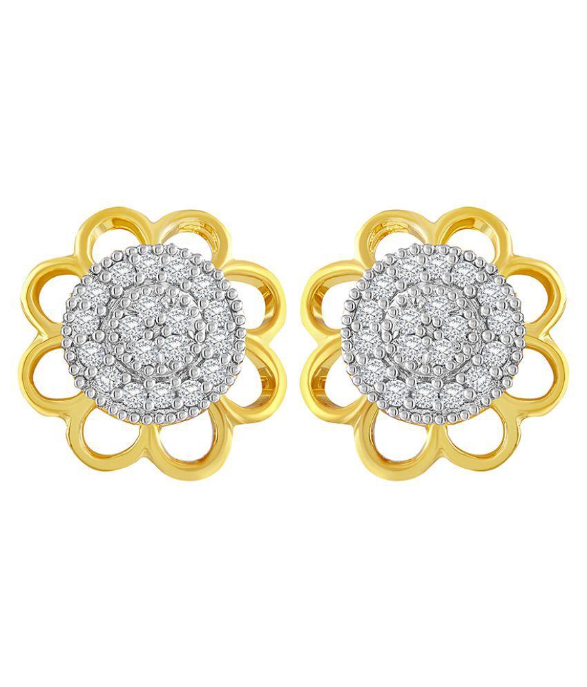 Asmitta Amazing Flower Design American Diamond Gold Plated Stud Earring For Women