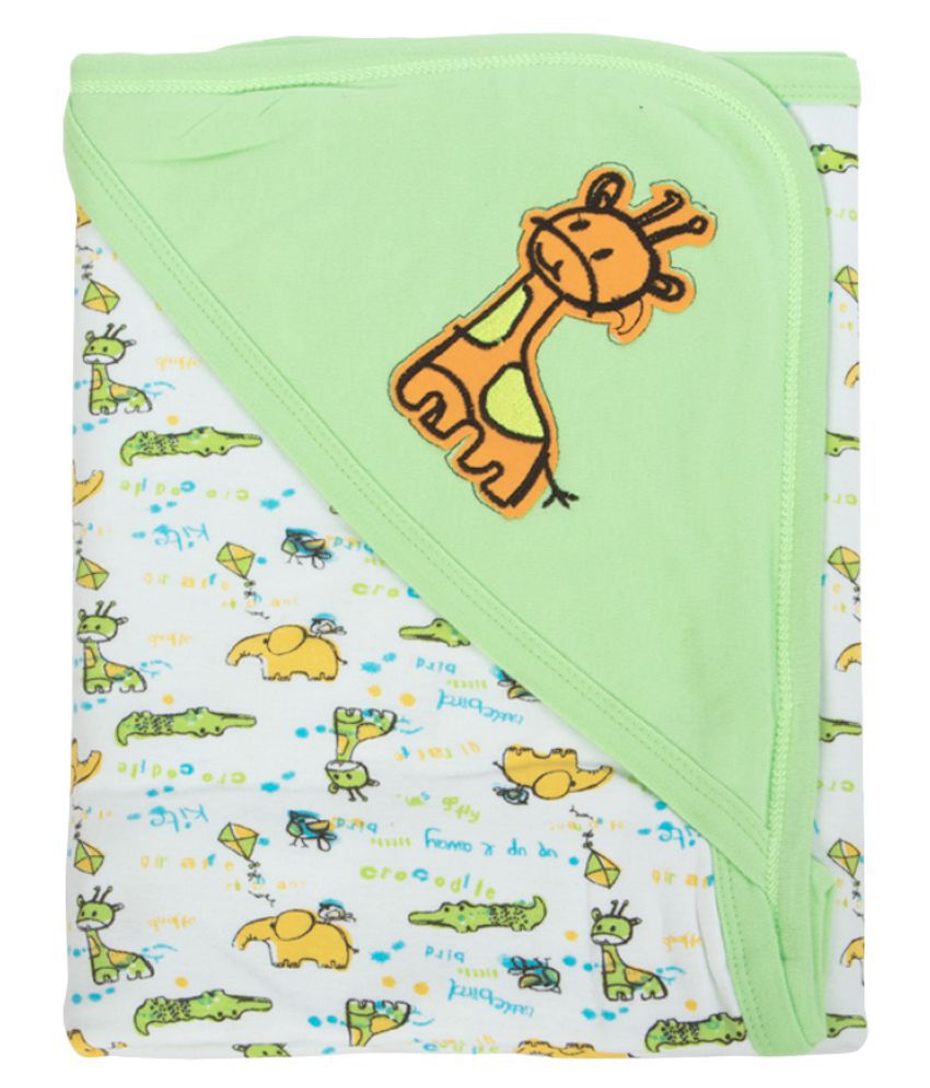 Mee Mee Green Cotton Baby Wrap cum blanket ( 29 cm × 2 cm - 1 pcs)