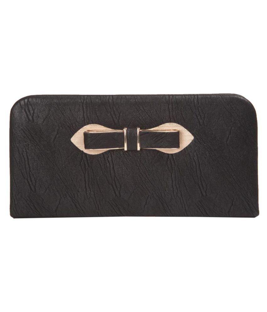 Aliado Black Faux Leather Box Clutch
