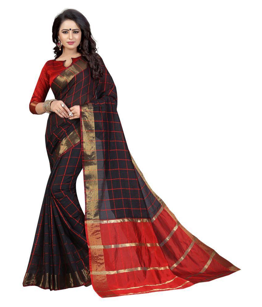 Fstore Black Cotton Silk Saree