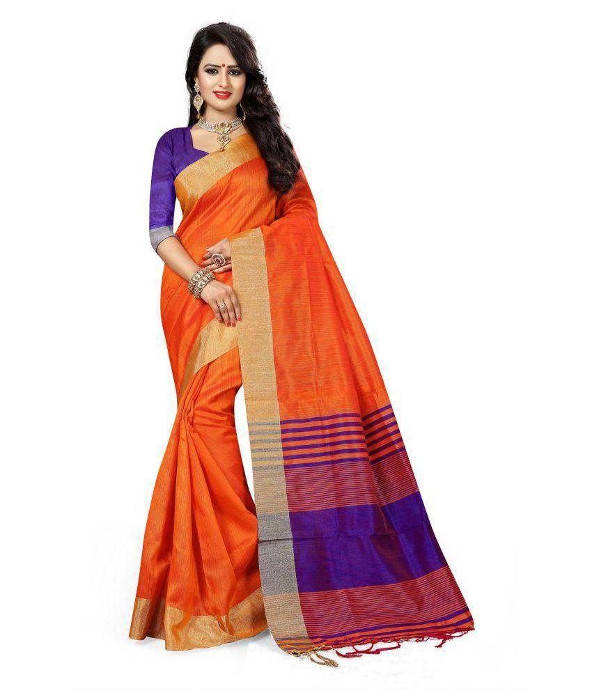 ONLINE FASHION DAYS Orange Cotton Silk Saree