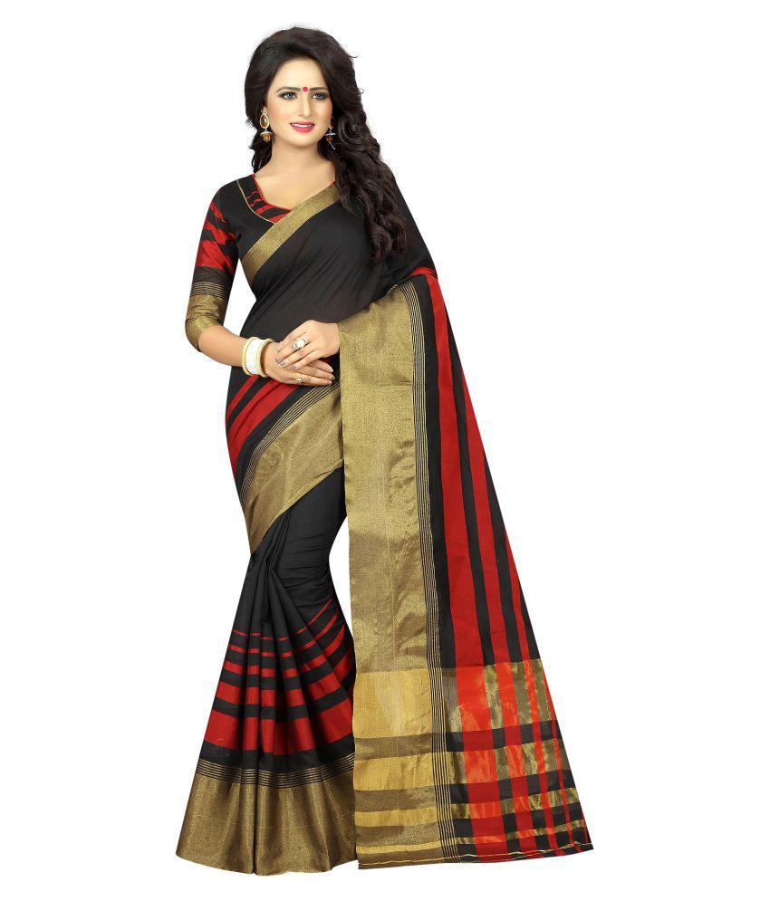 Ozon Designer Fab Black Cotton Silk Saree
