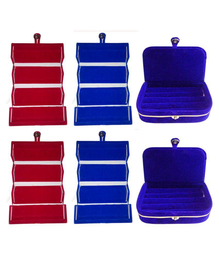 Sarohi Combo 2 pc red earring folder 2 pc blue ear ring folder 2 pc blue ring jewelry vanity box