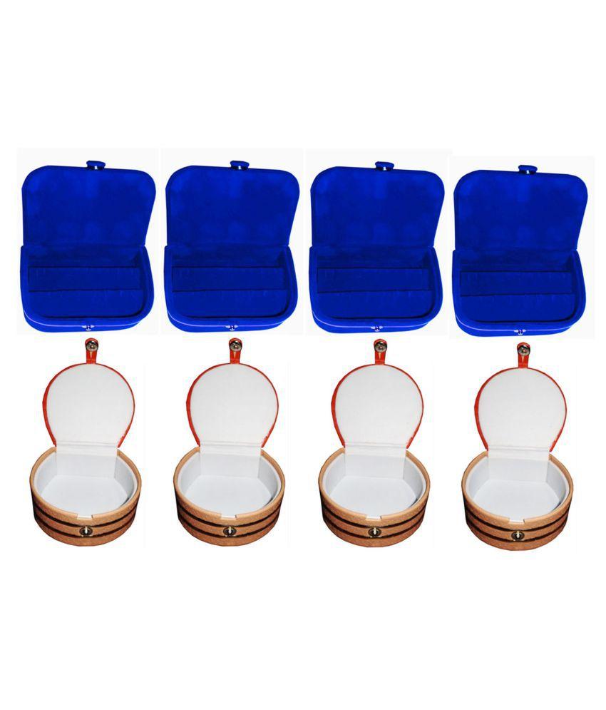 Sarohi Combo 4 pc blue ear ring box and 4 pc bangle box jewelry vanity case