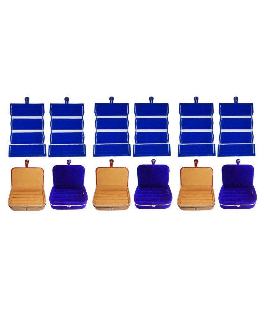 Sarohi Combo 6 pc blue earring folder 3 pc ring box and 3 pc blue ear ring box jewelry vanity box