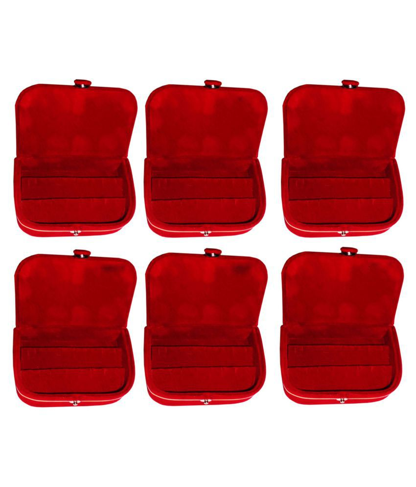 Sarohi Set of 6 velvet Earring folder Ring box jewelery case ring storage ear ring travelling folder